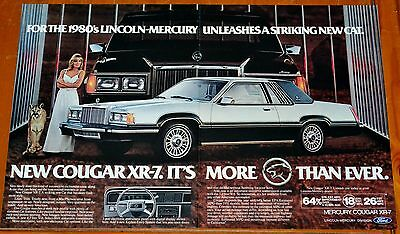 1980 Mercury Cougar Xr7 Large American Ad - Striking New Cat / Retro 80S