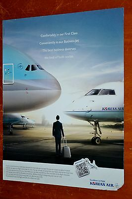 2011 Korean Air American Ad With Airbus A380 Jetliner & Executive Jet Plane