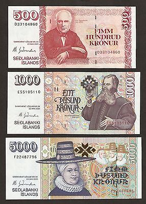2001 Iceland 500/1000/5000 Kronur Matching Signature Uncirculated Set