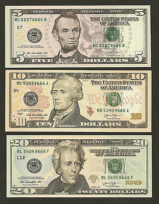 2013 American $5/10/20 Dollar Last 3 Digit Number 666 Matching Uncirculated