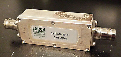Lorch 3BP3-98/20-B Band Pass Filter, FM, 98MHz center, 20MHz BW, 10 Watts, BNC
