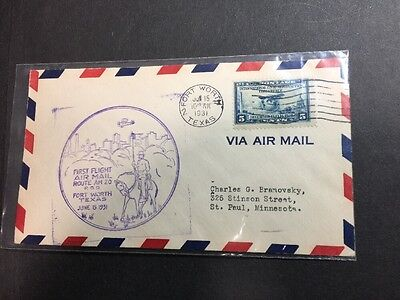 SC 650 FIRST FLIGHT AIR MAIL - 1931 Fort Worth Texas POD - Chicago Postmark!