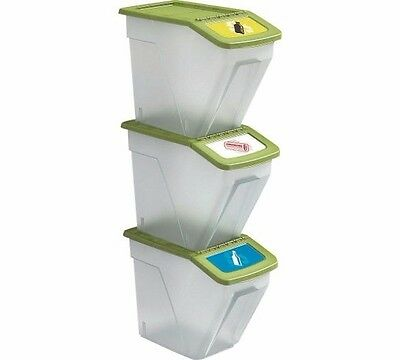 Recycling Stacking Bins Stackable Plastic Waste Laundry Kitchen Rubbish Garden