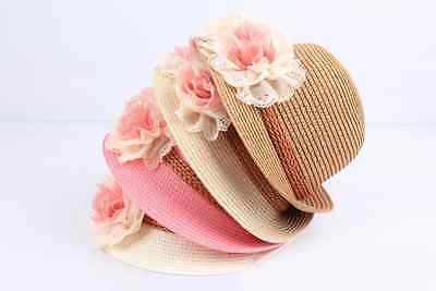 Baby Girl/Toddler Summer/Spring Straw Hat with chin strap for safety Easter Hats
