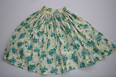 Vintage 50s Day Dress Rockabilly Swing  Pinup Full Circle Skirt Blue Roses