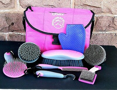 Oster Equine Care Series HORSE GROOMING KIT, 8 Piece Bag GROOMING SET, Pink