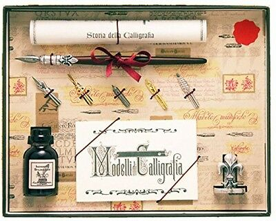 Coles Calligraphy Wood Pen With 5 Nibs, Ink And Holder Set