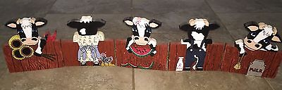 """5 Cow Front & Back Wooden Folk Art Plaque Country 36.5""""Long 7.5""""Tall Home Decor"""