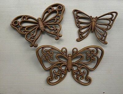 3 -- Vintage Home Interior Brown Butterflies Wall Decor HOMCO Butterfly 1978