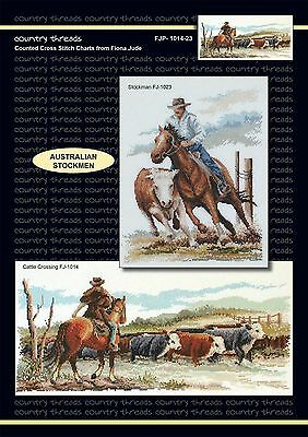 Australian Stockmen - 'Combo' Cross Stitch Chart from Country Threads. 2 Designs