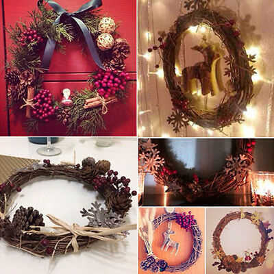 1X Xmas Natural Dried Rattan Wreath Xmas Garland Door Wall Decor 10,15,20cm