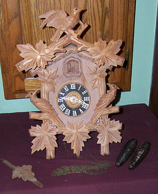 Black Forest Cuckoo Clock Hand Carved Beautiful Vintage