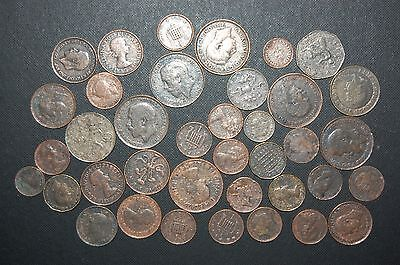 38 Pc Great Britain Coin Lot;1914-1999;farthing,shilling,three Pence,two Pounds,