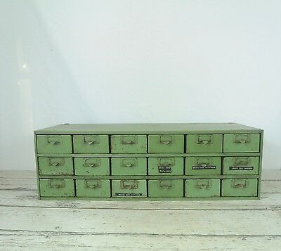 Vintage Stackable 18 Drawer Parts Cabinet Industrial Parts Bins Fabulous Green 2