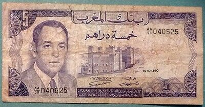 Morocco 5 Dirhams Note , P 56, Issued 1970,
