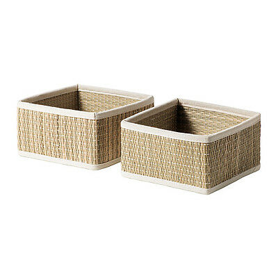Storage Basket Set of 2 Seagrass Basket organizer Bathroom Home Storage SALNAN