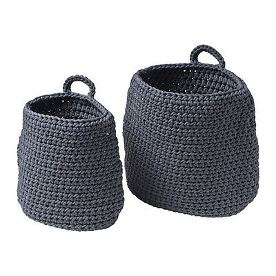 Storage Basket Handmade Set of 2 Basket organizer Bathroom Home Storage NORDRANA