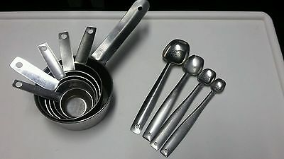 6 Vintage Measuring Cups 1-1/4 to 1/8  & 4 Spoons 1TB to 1/4 Tsp Stainless Steel