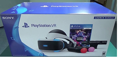New Sony Playstation Vr Launch Bundle Worlds (Vr Headset, 2 Controllers, Worlds)