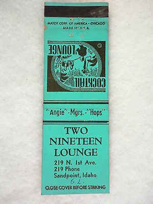 Vtg Advertising Matchbook Cover - Two Nineteen Cocktail Lounge - Sandpoint Idaho