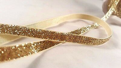 1cm- 2 meter Gorgeous glittery gold velvet ribbon lace trimming for crafting