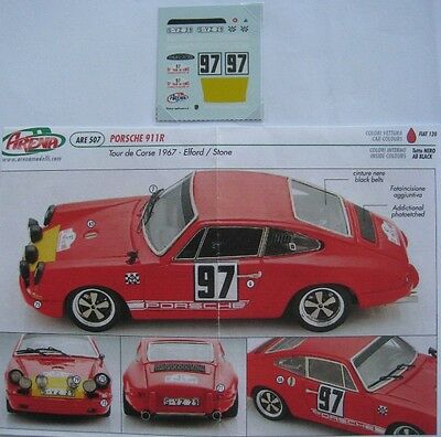PORSCHE 911 R n° 97 TOUR DE CORSE 1967 ELFORD DECAL 1/43e