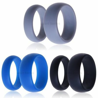 3pcs Set Black Grey Blue Men Women Silicone Wedding Band Rubber Outdoor Ring