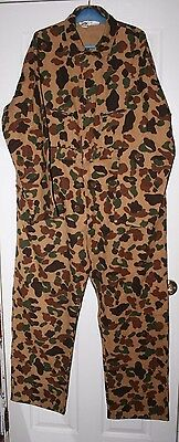 VINTAGE DUXBAK Duck Hunting Camo Camouflage Coveralls Hunter Talon Zips Size XL