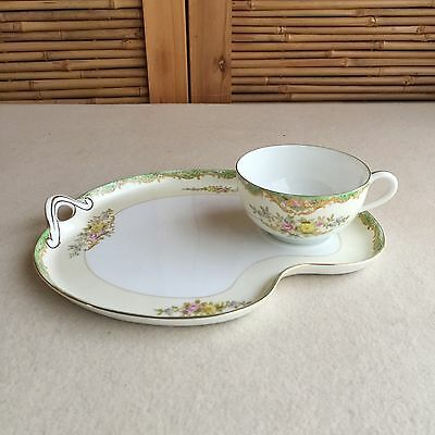 Vintage NORITAKE M Morimura HAND Painted FLORAL Tennis SNACK Tea CUP Saucer SET