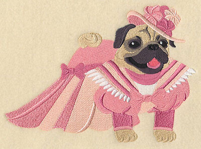 Embroidered Fancy victorian pug dog quilt block, fabric,cushion panel,quilt,xmas