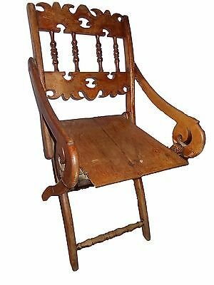 Antique renaissance solid oak wood chair, pliable, 18th century