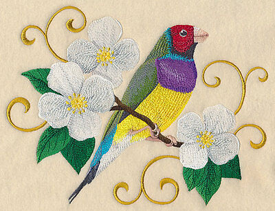Embroidered Gouldian finch with filigree quilt block,bird fabric,cushion panel,