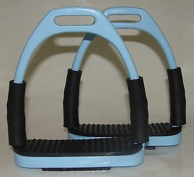FLEXI SAFETY Shock Absorbing STIRRUPS HORSE RIDING BENDY  STEEL Light Sky Blue
