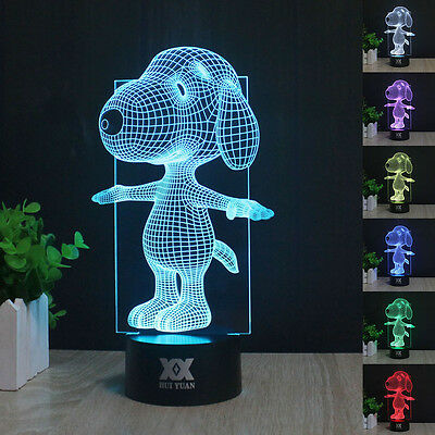 Peanuts Snoopy 3D Acryl LED 7 Farbe Tischlampe Leselampe Nachtlicht Nachtlamp