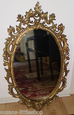 Large Ornate Syroco Made in USA Gold Gilt Hollywood Regency Oval Wall Mirror