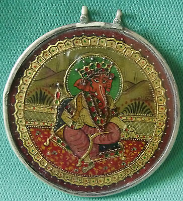 Antique Beautiful Painted Hindu Lord Ganesha With Real Pearl Silver Pendant