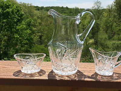 Cut Glass Juice Pitcher Creamer & Sugar Bowl - Pinwheel Motif