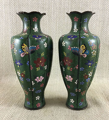 Antique Mirror Pair 19th c Japanese Cloisonne Vases Flowers Butterflies Enamel