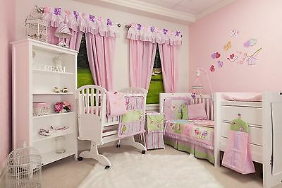 New 6 Piece Cot Quilt set for Nursery Pink Birdhouse with bonus Cot Valance