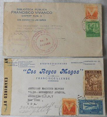2 covers 1940s - Examined by Censor - from Carribean country to USA - vgc