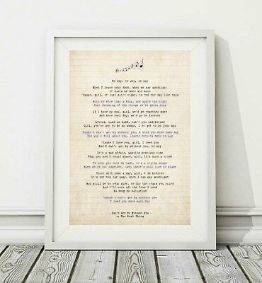 284 The Real Thing - Can't Get By Without You - Song Lyric Poster Print - A4 A3
