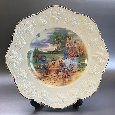 "Crown Ducal Ware 11"" Decorative Dinner Plate Filigree Edge Landscape England Vtg"