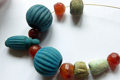 Ancient Egyptian Faience Amphora Pendant and Beads, Ancient Carnelian Beads