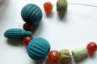 SALE Ancient Egyptian Faience Amphora Pendant and Beads, Ancient Carnelian Beads