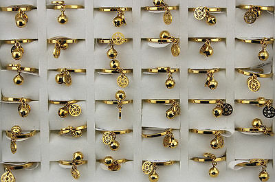 Mixed Lots 25pcs stainless steel Gold Plated Women Lady's Fashion Party rings