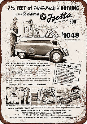"1957 BMW Isetta 300 10"" x 7"" Reproduction Metal Sign"