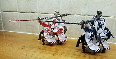 Papo knights with horses red blue and white good condition