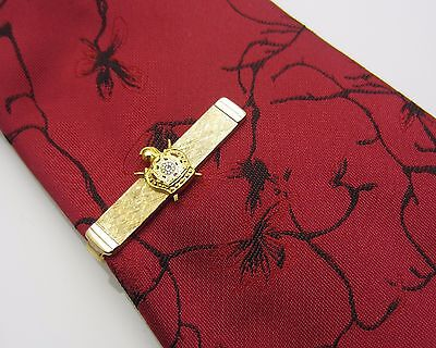 DeMolay Crest Knights Templar Mens Tie Clip Bar Masonic Enamel Gold Tone Metal