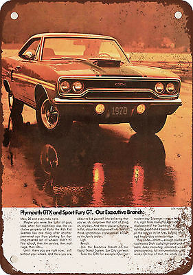 """1970 Plymouth GTX 10"""" x 7"""" Reproduction Metal Sign"""