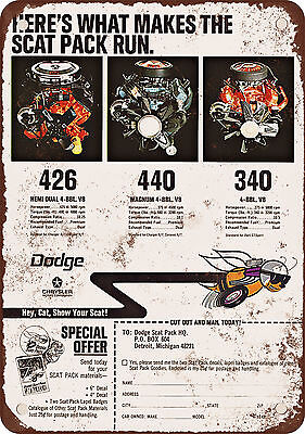 """1968 Dodge Scat Pack 10"""" x 7"""" Reproduction Metal Sign"""
